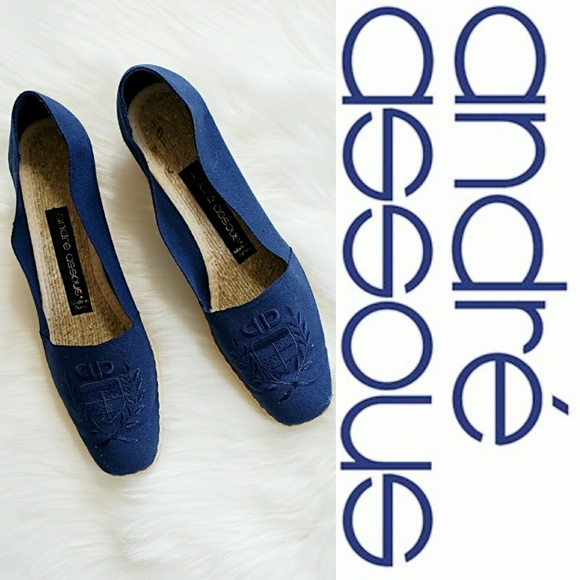 81b6bed1f51 Andre Assous Pamela Navy Embroidered Espadrille